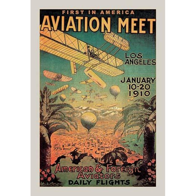 First in America Aviation Meet - Biplanes and Balloons Cover the sky in Los