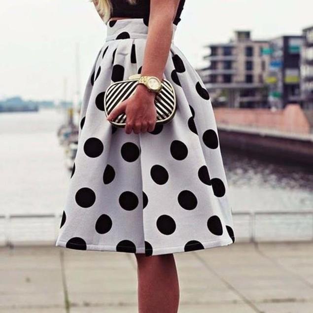Women Bodycon Polka Dot Umbrella Skirt Retro Puff Skirts