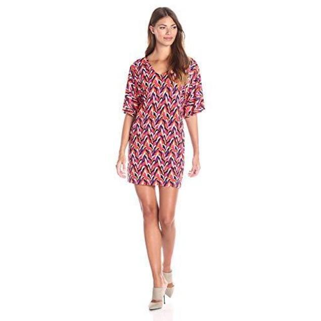 Trina Turk Women's Griffin Ensenada Wave Matte Jersey Dress, Multi, 2