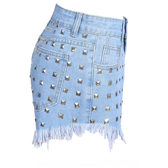 Women Fashion High Waist Metal Rivets Studded Ripped Denim Short