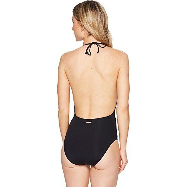 Vince Camuto Women's Hardware High Neck Plunge One Piece Swimsuit SIZE 6