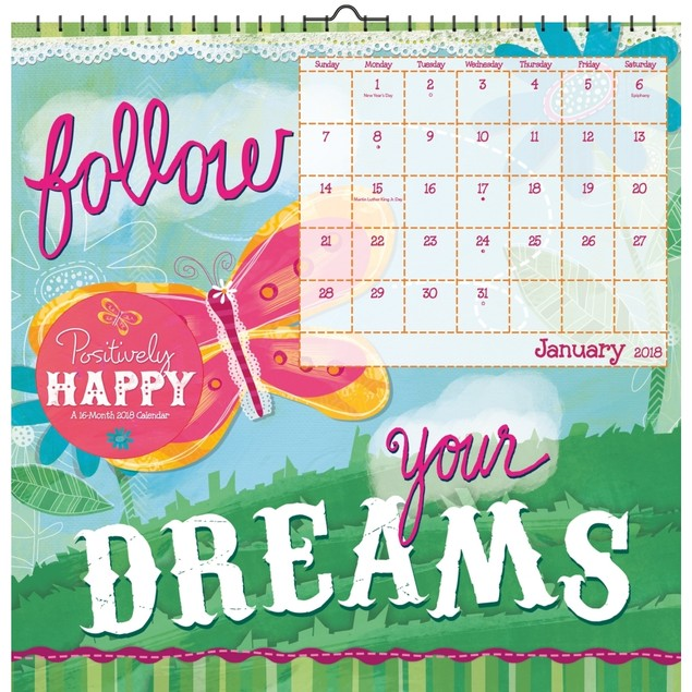 Positively Happy Haskamp Wall Calendar, Motivation by Trends International