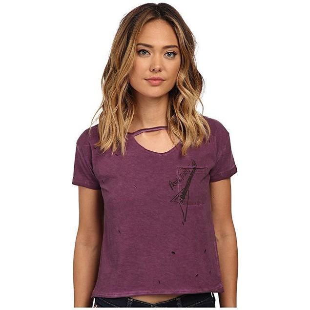 Mavi Jeans Women's Shirt with Pockets Dark Red T-Shirt XL