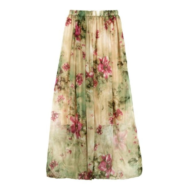 Women Chiffon Pleated Long Maxi Boho Dress Elastic Waist Skirt