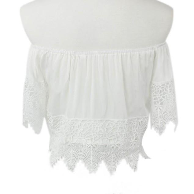 Women Boho Lace White Blouse Off Shoulder Crop Shirt Tops