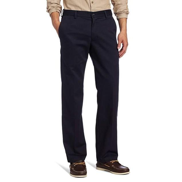 IZOD Men's American Chino Flat Front Slim Fit Pant, Navy, 33W x 34L