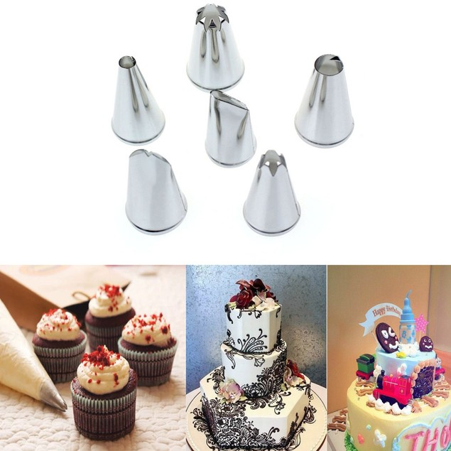 6-Piece Stainless Steel Icing Tips for Bakers