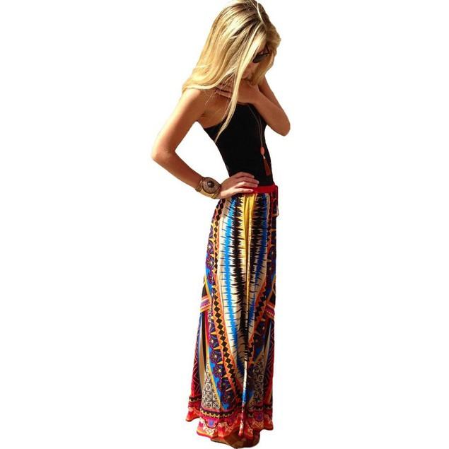 Women Vintage Print Bohemian Maxi Long Waist Skirts