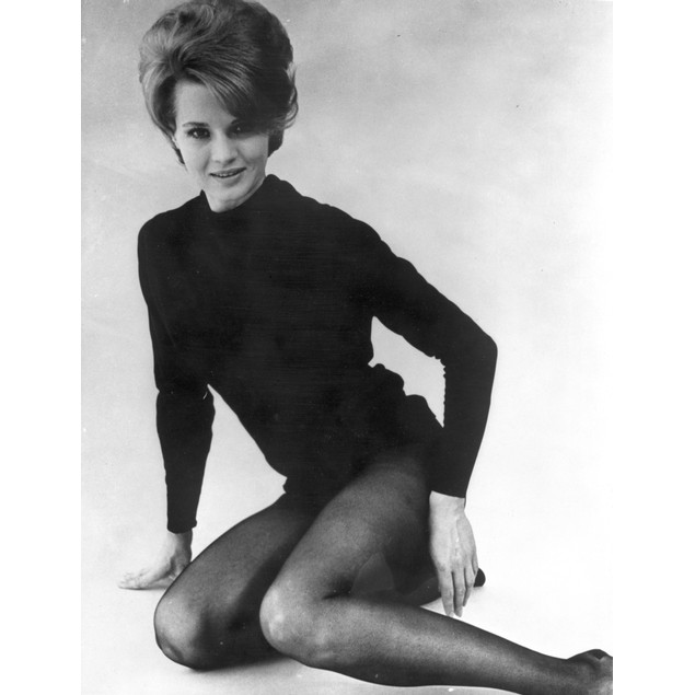 Angie Dickinson Posed in Black Sweater Black and White Poster