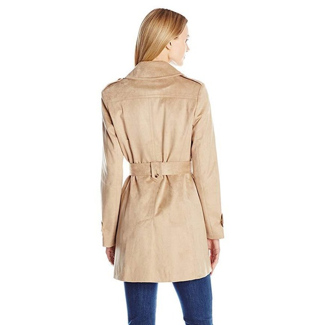 Via Spiga Women's Suede Belted Trench Coat Sand XX-Large