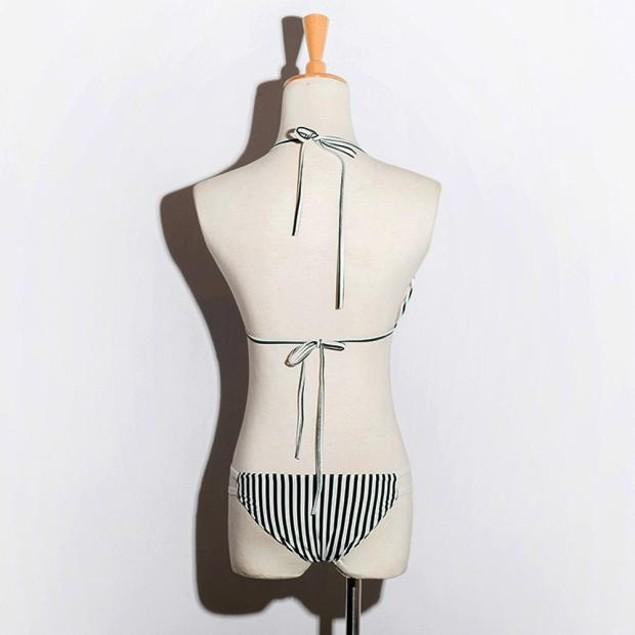 Women Stripe Bikini Set Bandage Push-Up Swimsuit Beachwear