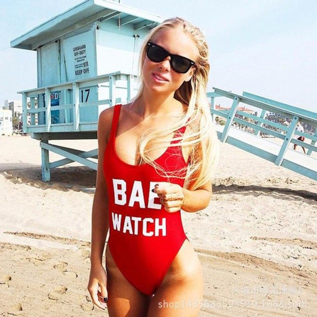 Women Sexy Backless BAE WATCH Swimsuit Bathing Suit