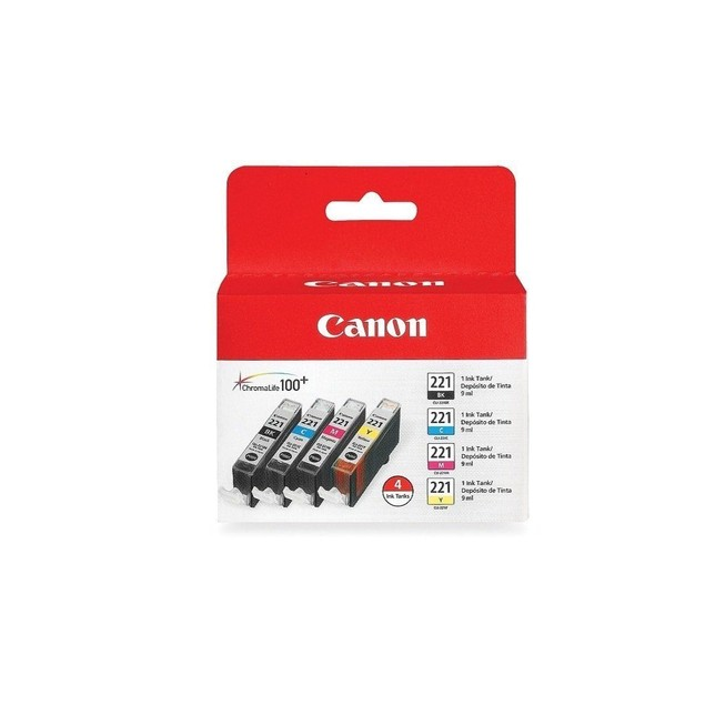 New Genuine Sealed Canon CLI-221 CLI-221 B C M Y 4 Pack Ink Cartridge Tanks