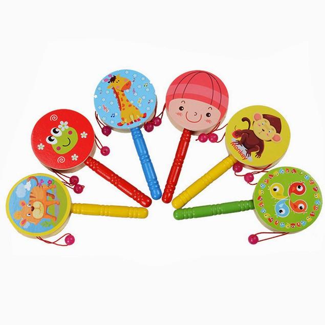 1pc Wooden Rattle Pellet Drum Cartoon Musical Instrument Toy