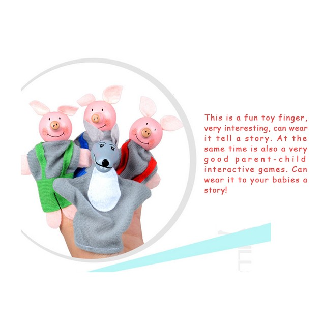 4PCS Three Little Pigs And Wolf Finger Puppets Hand Puppets