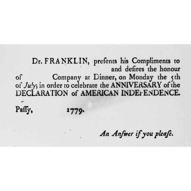 Franklin: Invitation, 1779. /Ninvitation From Benjamin Franklin To A Party