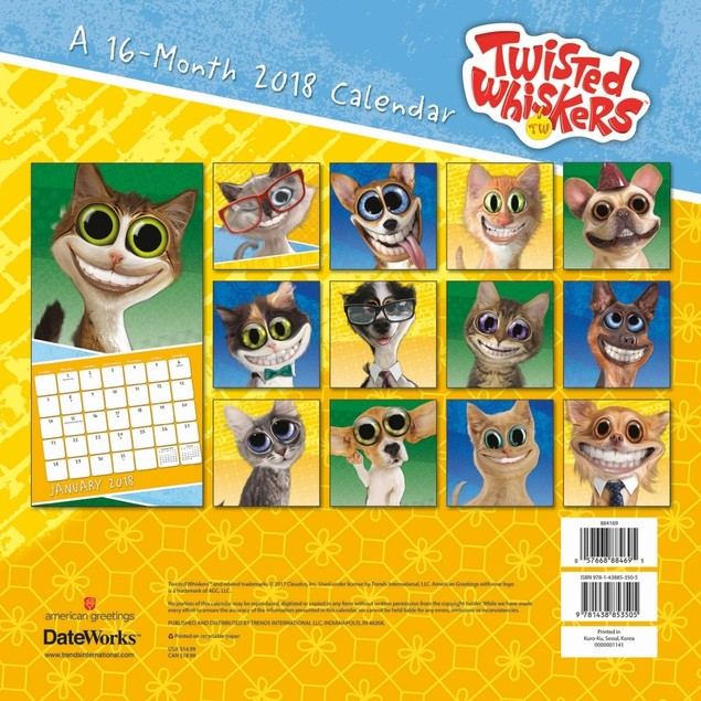 Twisted Whiskers Wall Calendar, Funny Dogs by Trends International