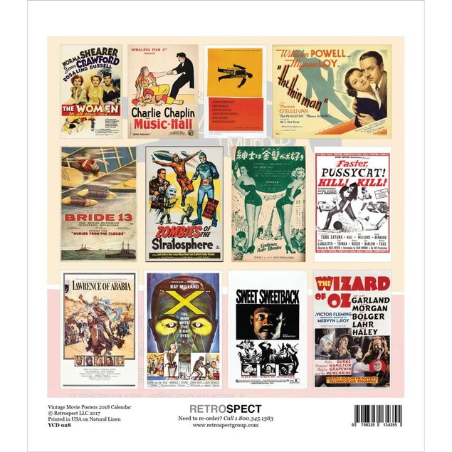 Vintage Movie Posters Easel Calendar, Movie Posters by Retrospect Group