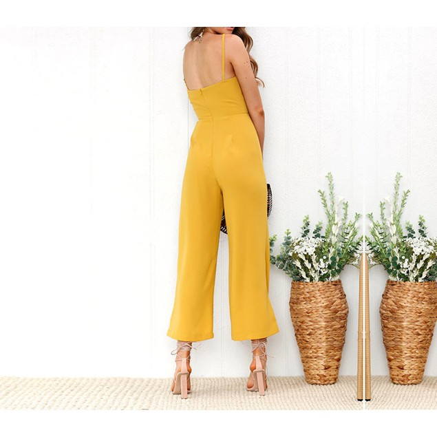 Spaghetti Strap Flare Leg Jumpsuit