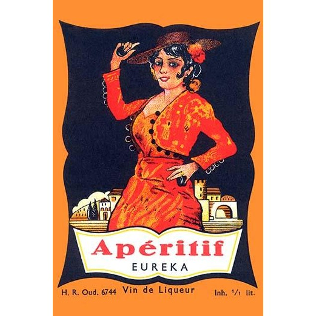 An aperitif label featuring a flamenco dancers with castanets. Poster