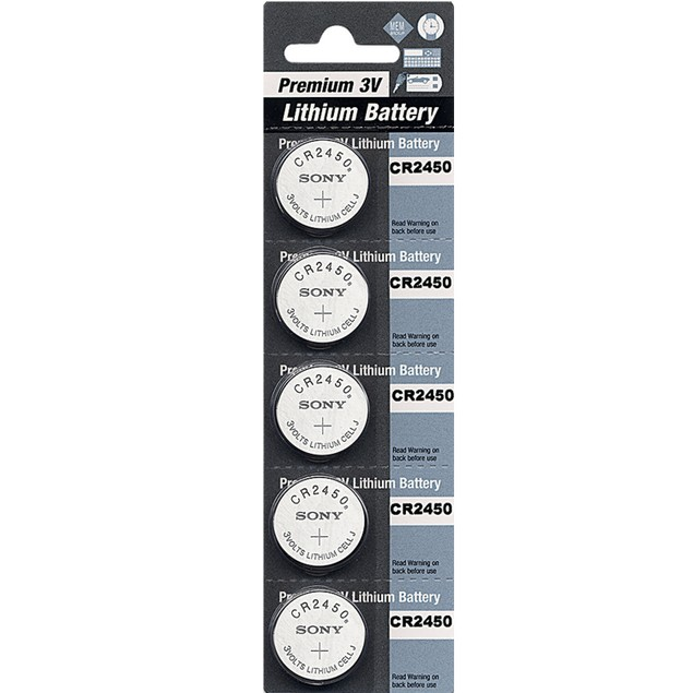 Premium Battery CR2450 3-Volt Lithium Coin Cell Batteries (5 Batteries)