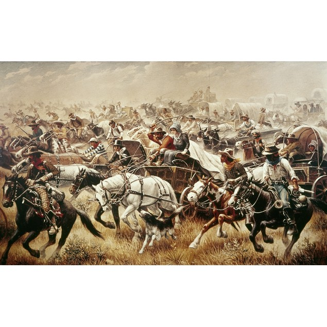 Oklahoma Land Rush, 1889. /N'Oklahoma Run.' Oil On Canvas By Robert Lindneu