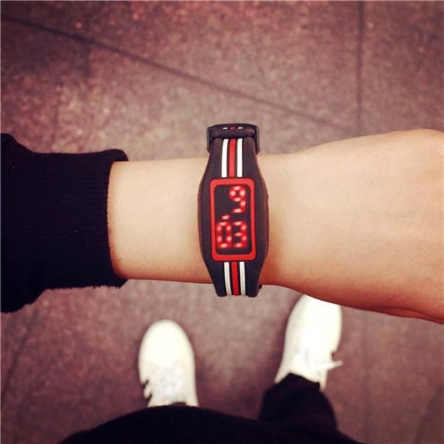 Striking Silicone Red LED Sport Bracelet Touch Digital Wrist Watch