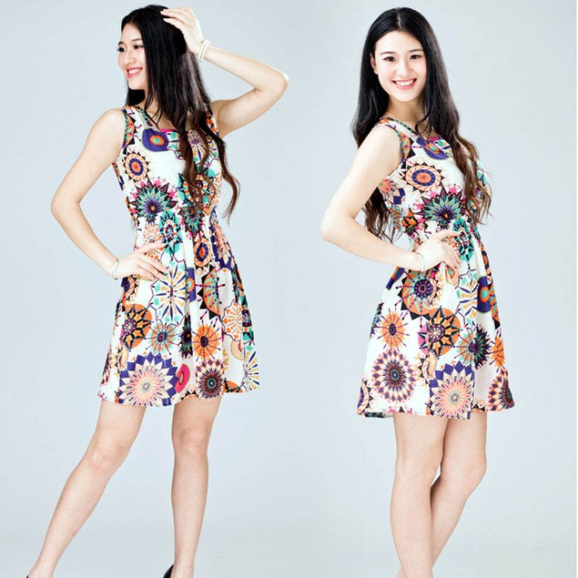 Women Sleeveless Sunflower Print Casual Beach Mini Dress