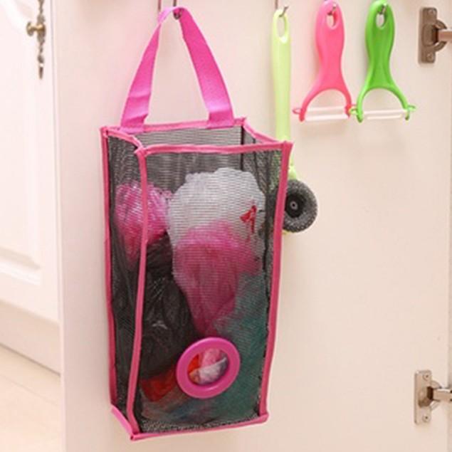Mesh Hanging Kitchen Garbage Bag Storage