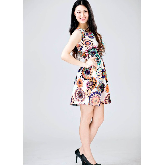 Women Sleeveless Sunflower Print Casual Beach Mini Dress