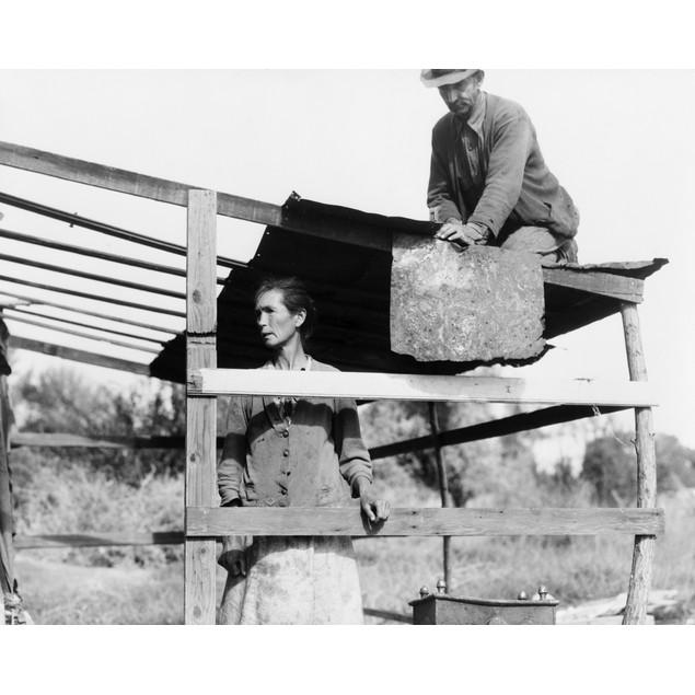 Homeless Couple, 1935. /Ndispossessed Arkansas Farmers Constructing A Shelt