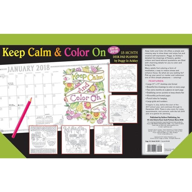 Keep Calm & Color On 2018 Desk Pad Planner Calendar (CD0292)
