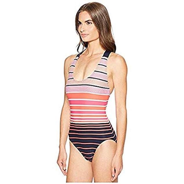 Michael Kors Women's Abby Stripe One-Piece Electric Pink Swimsuit SZ: