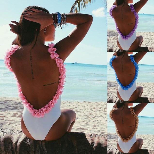 Women Swimsuit Monokini Swimwear One Piece Floral Beach Bikini Jumpsuit