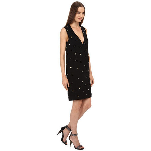 McQ Women's Studded V-Neck Dress Black 44 (US 8)