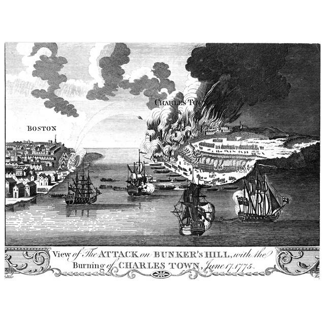 Battle Of Bunker Hill, 1775. /Ncopper Engraving, English, C1780. Poster