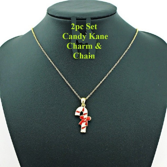 "18K Gold Plated Enamel Candy Kane Charm on a Cable Chain, 16"" + 2"" Ext"