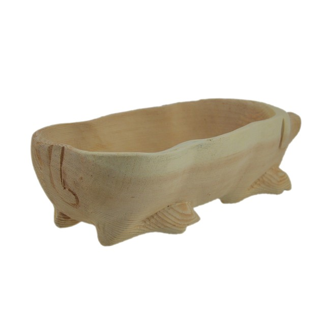 Hand Carved Pig Wooden Centerpiece Bowl Decorative Bowls
