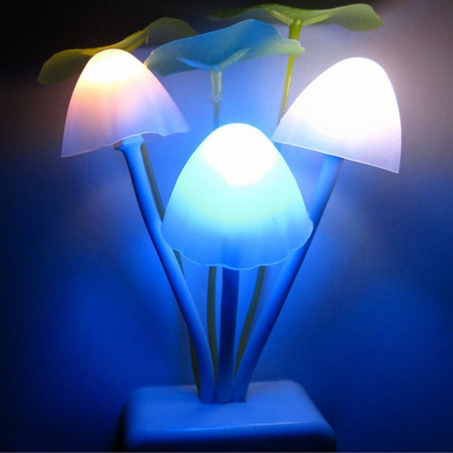 Romantic Colorful Sensor LED Mushroom Night Light Wall Lamp