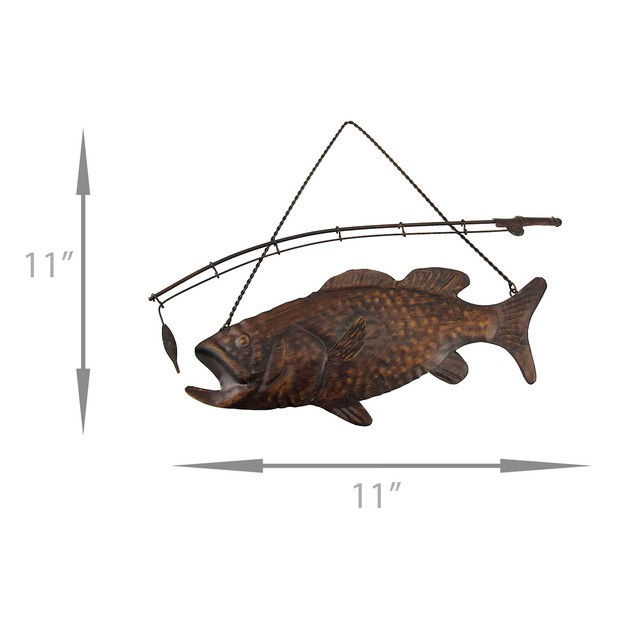 Rustic Finish Largemouth Bass Metal Wall Hanging Decorative Plaques