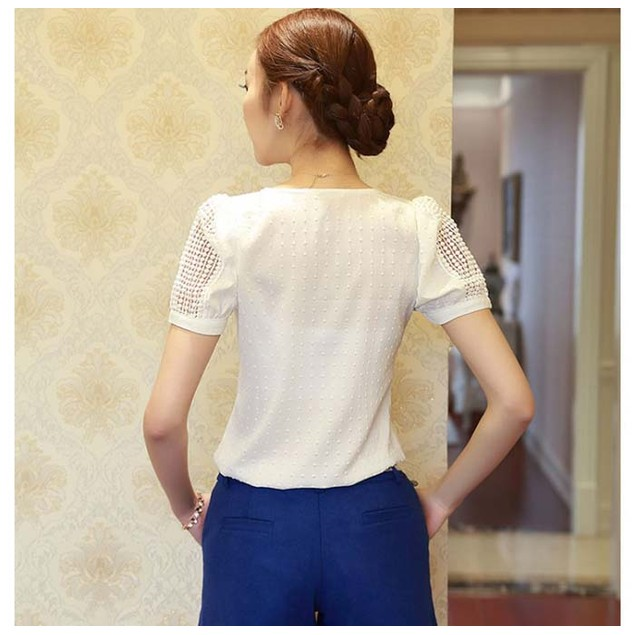 Lady Women Lace Short Sleeve Shirt V Neck Doll Chiffon Blouse Tops