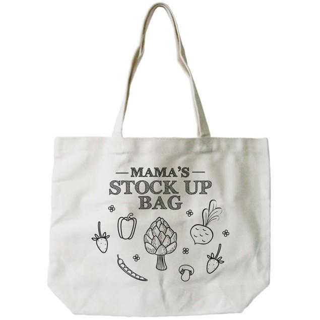Mama's Stock Up Bag Women's 100% Cotton Canvas Tote Bag, Reusable Eco-bag