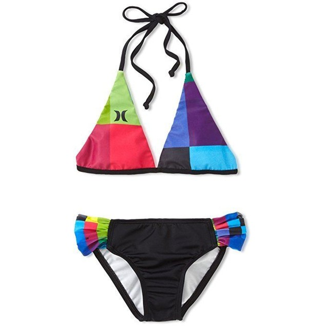 Hurley Big Girls' Kings Road Rev Halter and Tab Side Swimwear SZ : 14