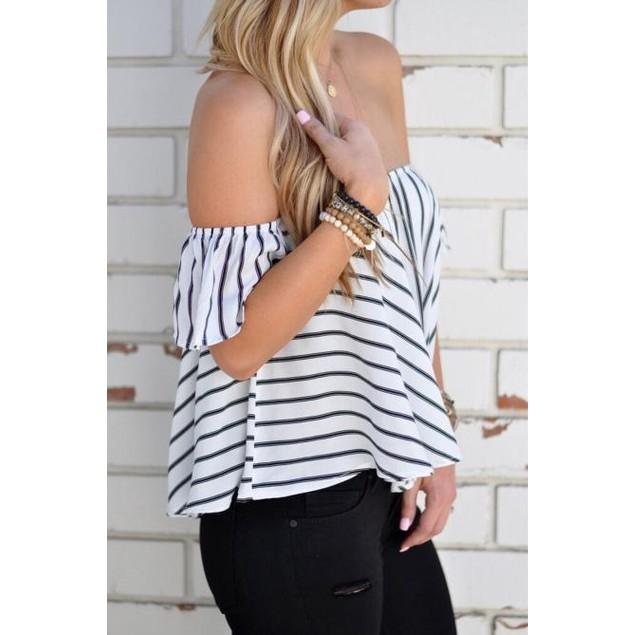 Women Off Shoulder Stripe Casual Blouse Shirt Tops