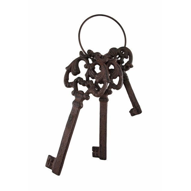 Cast Iron 3 Piece Skeleton Key Set Jail Cell Statues