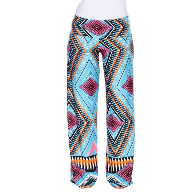 Abstract Print Palazzo Pants - Teal Pink