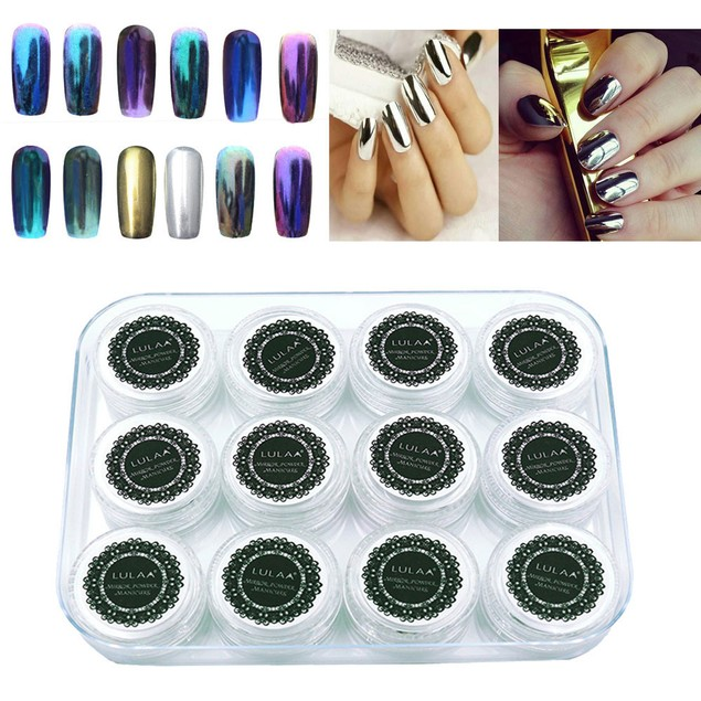 12-Color Mirror UV Gel Glitter Powder Set for Nails