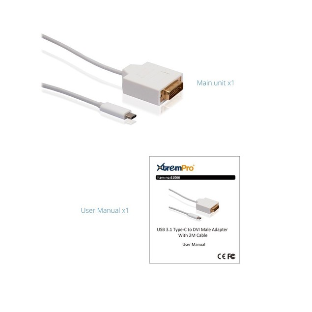 USB 3.1 TYPE-C TO DVI MALE ADAPTER  6.6 ft CABLE