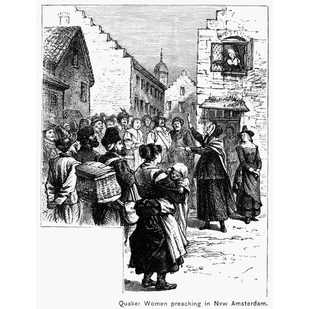 Quaker Preaching, 1657. /Nquaker Women Preaching In The Streets On New Amst