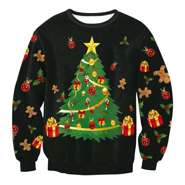 Women Christmas Tree Print Long Sleeve Pullover Sweatshirt Blouse Shirt